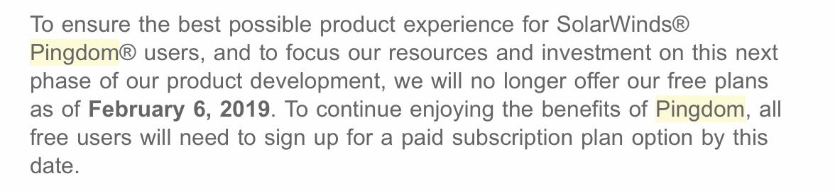 Mail von Pingdom wegen der Einstellung des FreePlans